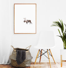 Load image into Gallery viewer, Wooden-framed Deer Walking Through White Nowhere Photo Print