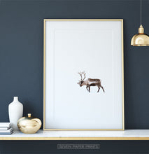 Load image into Gallery viewer, Golden-framed Deer Walking Through White Nowhere Photo Print