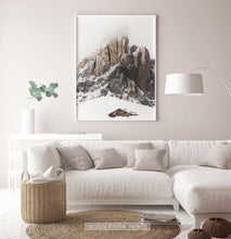 Load image into Gallery viewer, White-framed Snowy House Under A Cliff In The Mountains Wall Art