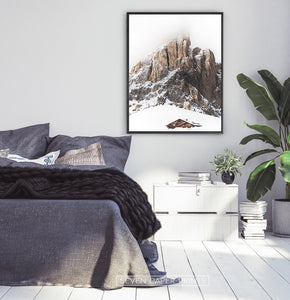 Black-framed Snowy House Under A Cliff In The Mountains Wall Art