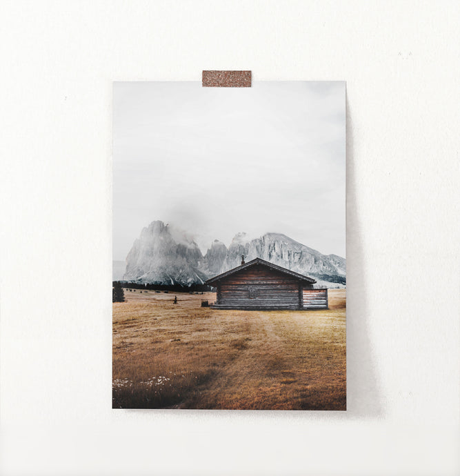 Yellow Field Country Shack Under Mountains Wall Art