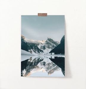 Snowy Mountains Reflecting In A Lake Wall Decoration