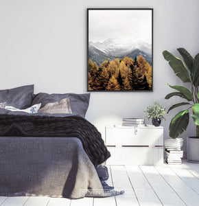 Black-framed in a dark-gray bedroom
