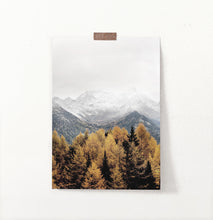 Load image into Gallery viewer, Yellow&Brown Spruce Forest On Foggy Mountains Background Poster