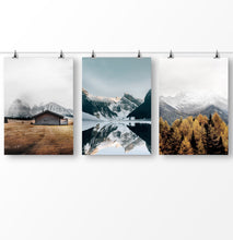 Load image into Gallery viewer, Set of 3 Mountain Landscape, Snowy Mountain Print, Foggy Mountains, Canada Travel, Lake Mountain Poster, Nature Landscape, Foggy Mountains