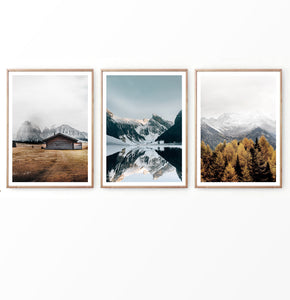 Old Barn and Misty Mountains Set of 3 Prints