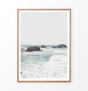 Coastal Wall Art with Ocean Beach and Rocks in the waves