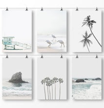 Load image into Gallery viewer, Gray Coastal Wall Art, Set of 6 Prints, Beach Photography, Sad Ocean Pictures
