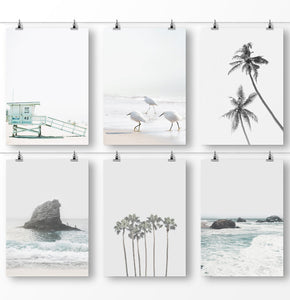 Gray Coastal Wall Art, Set of 6 Prints, Beach Photography, Sad Ocean Pictures