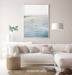 Surfers in California Beaches Living Room Wall Art
