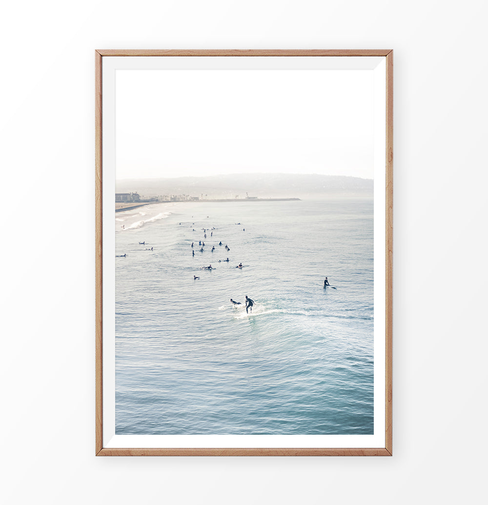 Ocean Surfing. California Beach Print