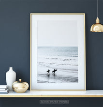 Load image into Gallery viewer, Black and White Surfers Photo Print