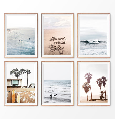 Surfing print set of 6. Ocean, Waves, Good vibes quote on sand, Beach, Surfboards and Palm Trees