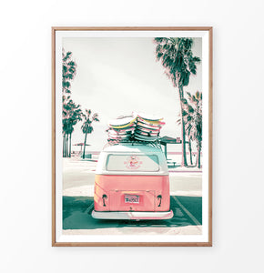 Pastel VW Combi print. Tropical travel wall art