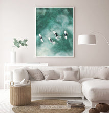 Load image into Gallery viewer, Surfing Wall Art Print for Living Room. Aerial Ocean Photo