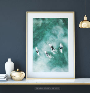 Coastal Photography Print with surfers