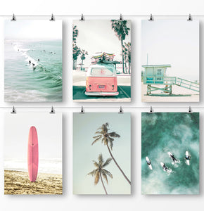 California Beach, Classic Retro Van, Pastel Lifeguard Tower, Pink Surfboard, Palm Trees, and Large Aerial Sea
