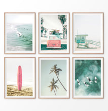 Load image into Gallery viewer, Coastal wall art set of 6. Pink Nursery, Surfers, VW Van, Palm, Lifeguard Tower, Surfboard