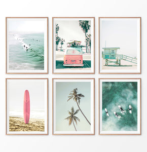 Coastal wall art set of 6. Pink Nursery, Surfers, VW Van, Palm, Lifeguard Tower, Surfboard