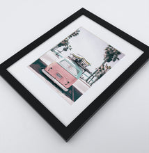 Load image into Gallery viewer, A bright pink aerial photo print of a surfing miniwan in a black frame