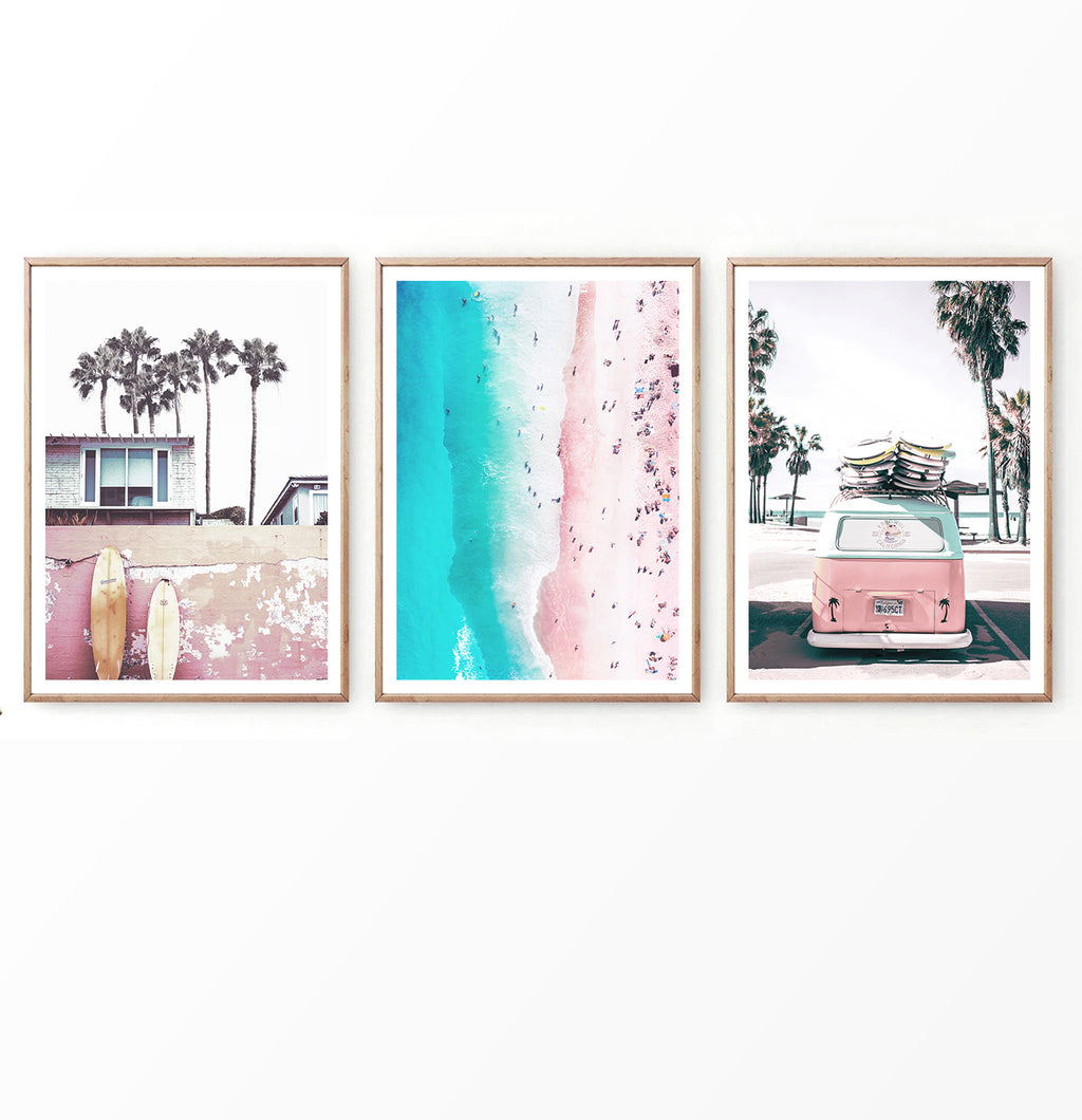 Pink Beach and Surf Photography with Retro Van Set of 3 Prints