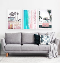 Load image into Gallery viewer, Three superb bright azure and pink photo prints of California beach house, surfing boards, a coast and a surfing miniwan in white frames