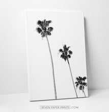 Load image into Gallery viewer, Surfers, ocean and palm trees. BW canvas set of 3 #178