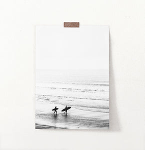 Black and White Surfers Photo Print