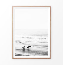 Load image into Gallery viewer, Surfers on the Ocean Coast in Black and White