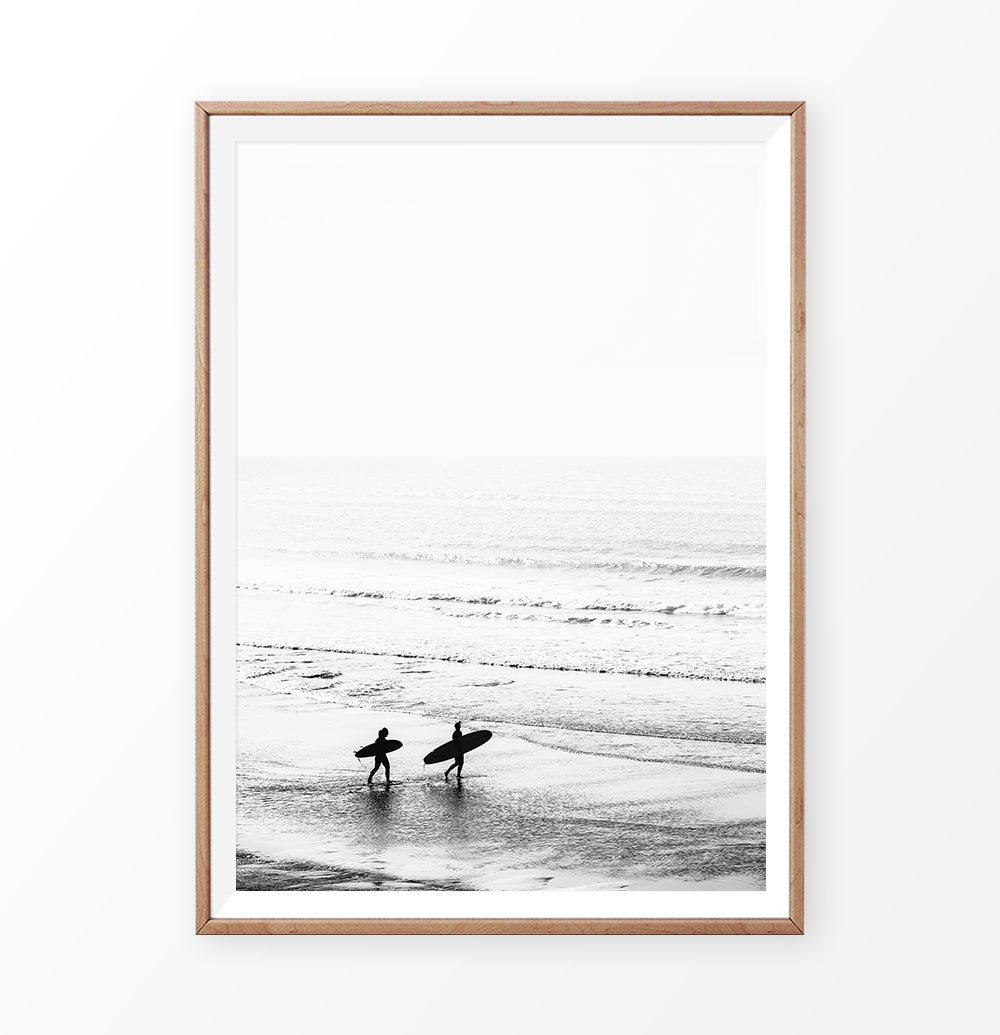 Surfers on the Ocean Coast in Black and White