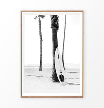 Load image into Gallery viewer, Black and White Surfboard near Pam Tree