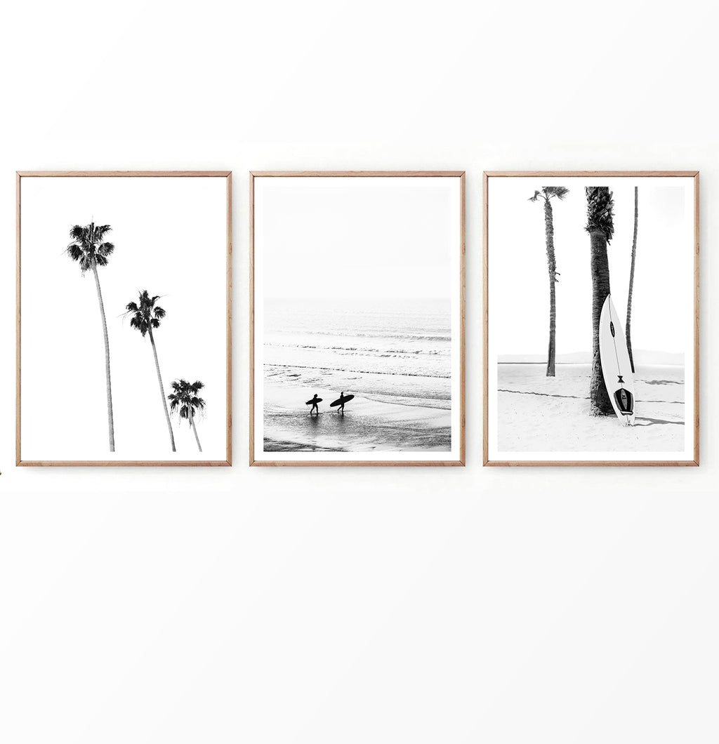 Surfer Photography With Palms in Black and White Set of 3 Pieces