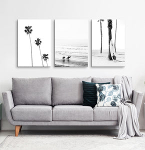 Surfers, ocean and palm trees. BW canvas set of 3 #178