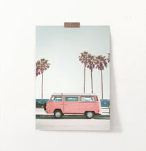Load image into Gallery viewer, California coastal road art, pink van, pink poster with palms