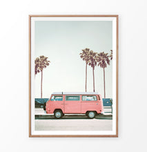 Load image into Gallery viewer, Pink Retro Van on the Beach Road