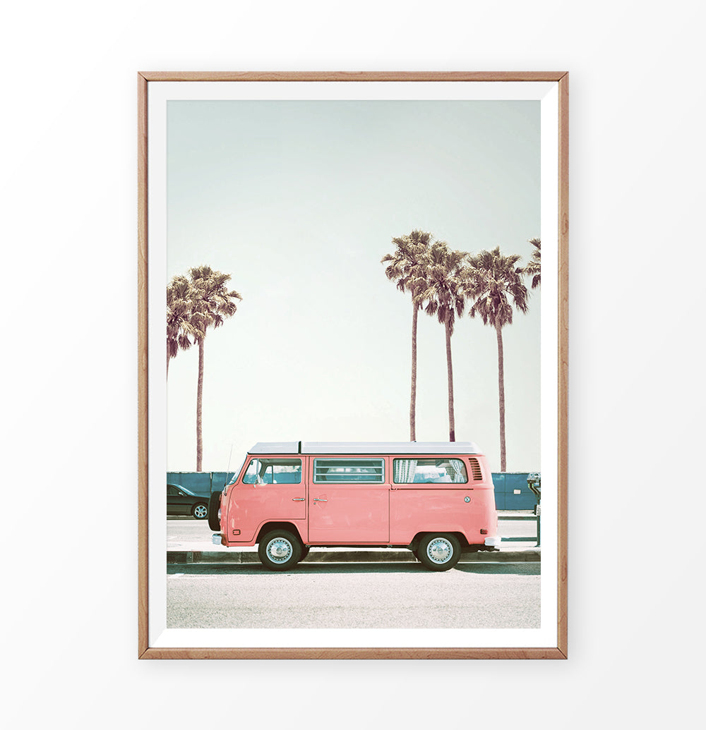 Pink Retro Van on the Beach Road