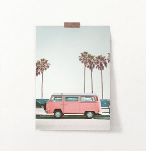 California coastal road art, pink van, pink poster with palms
