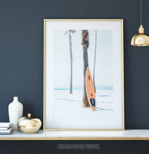 Black and White Retro Surfboard Wall Art