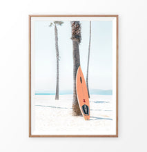 Load image into Gallery viewer, Surfboard and Palm Trees on the Beach Art Print