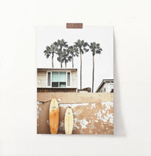 Load image into Gallery viewer, Surfboard wall décor, beach house décor, palm trees print
