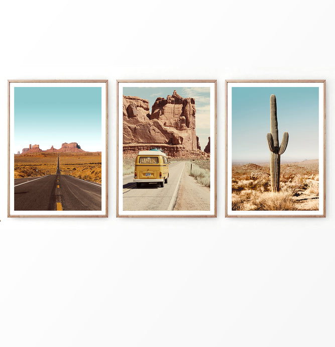 Desert Landscape with Grand Canyon and Retro Van Set of 3