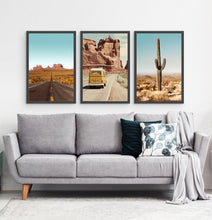 Load image into Gallery viewer, Three framed photo prints of a Great Canyon highway, miniwan and a cactus