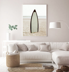 Surfboard Erected on the Beach Sand Wall Art