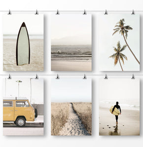 California surf art - retro surfboard, tropical palm trees, ocean waves and yellow van