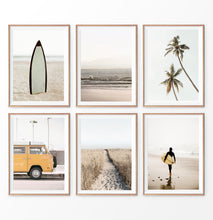 Load image into Gallery viewer, California Surf Wall Art Set of 6. Warm Color. Surfboard, Palms, Yellow Travel Combi