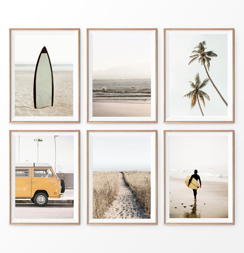 California Surf Wall Art Set of 6. Warm Color. Surfboard, Palms, Yellow Travel Combi