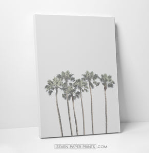 Gray tropical palms and ocean wall art. 3 piece canvas #190