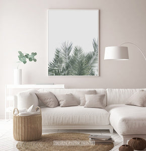 Green Palm Leaf on Gray Print