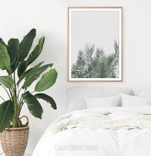 Load image into Gallery viewer, Green Palm Leaf on Gray Print