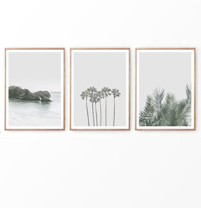 Neutral Color Beach Wall Decor in Set of 3 Prints